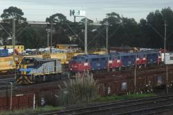 T377 stabled beside A60, A62 and A70 in long term storage at the Wagon Storage Yard