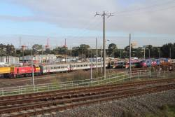 Stabled V/Line trains at the Wagon Storage Yard