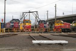 P16, P15, P18 and P12 stabled around the broad gauge turntable at South Dynon