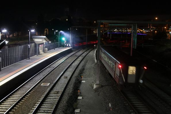 Down Swan Hill service departs Footscray station on the suburban tracks