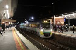 VLocity VL03 and classmate lead a down Geelong service via the Werribee line tracks at Sunshine