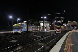 Up and down Siemens trains pass on the suburban tracks at Footscray, with a stranded Bacchus Marsh service on the RRL tracks