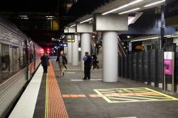 Delayed passengers are directed to an up V/Line service at Sunshine platform 3