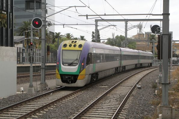 VLocity VL26 departs Footscray platform 2 on a down Waurn Ponds train