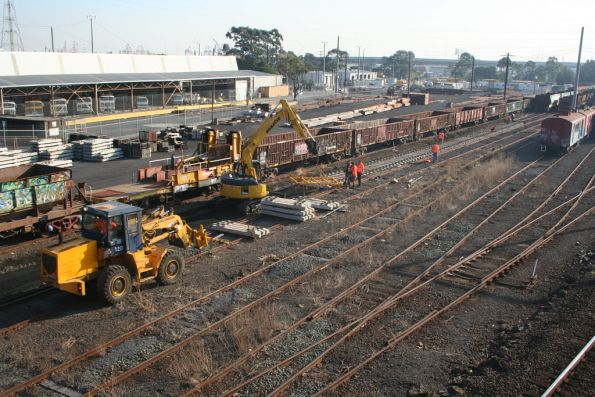 Concrete sleepers being installed in the Wagon Storage Yard at North Melbourne