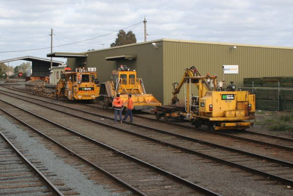 Downer EDI track machines stabled in the yard at Shepparton