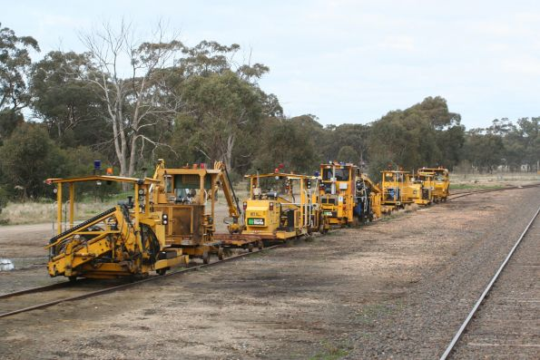Track machines stabled in the siding at Wunghnu