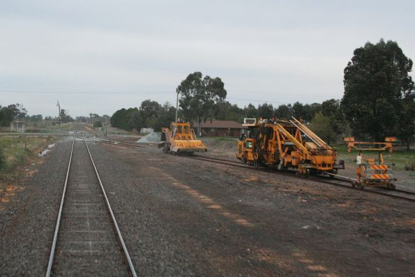 Track machines stabled in the siding at Toolamba