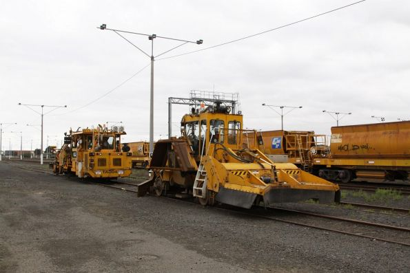 Ballast tamper and regulator stabled at North Geelong Yard