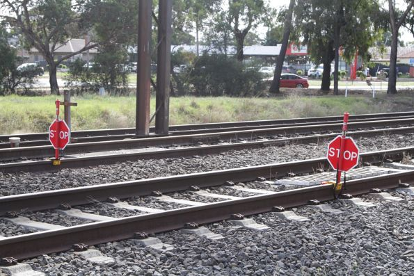 'STOP' boards in place on the Geelong line at Werribee