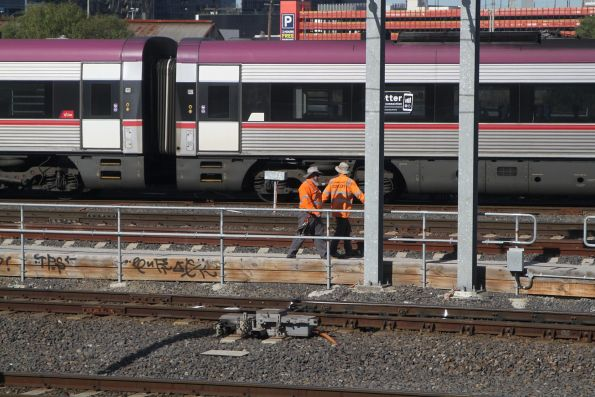 V/Line trackworkers inspect the tracks at West Tower