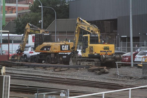 Pair of hi rail excavators between jobs at Southern Cross Station