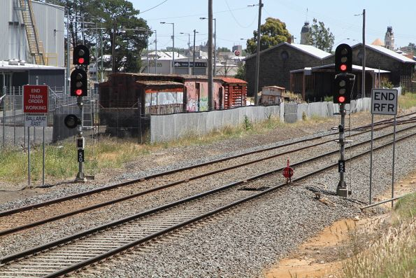 STOP board at Ballarat East marks the down end of the Ballarat line occupation