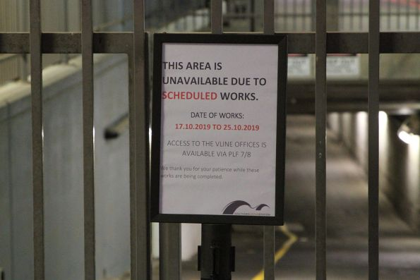 'This area unavailable due to scheduled works' sign at Southern Cross Station