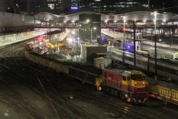 P17 and P18 with a push-pull spoil train at Southern Cross platform 3