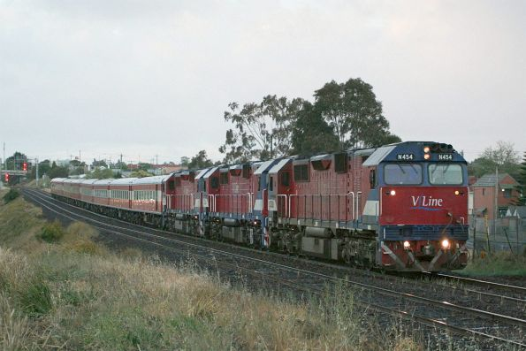 N454 with 2 more N classes and 8 N cars on the 0530 up Geelong empty car move on Saturday morning