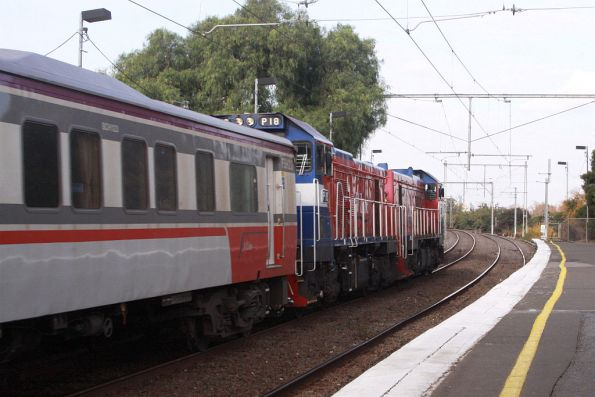 P14 and P18 double head carriage set FSH23 at Ascot Vale on a test run from Seymour
