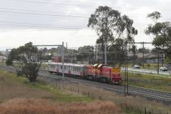 P12 and P17 nose to nose, leading carriage set SH35 set from Bendigo Workshops to Southern Cross at Ginifer