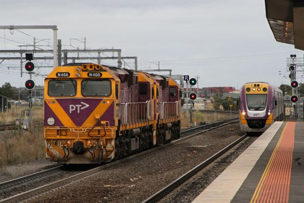 N459 leads N466 on an up light engine move from Geelong