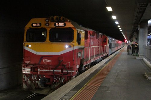 N458 at the other end of a push-pull VLocity transfer at Southern Cross