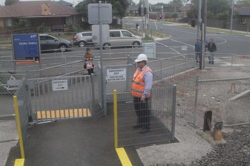 Safeworking staff monitor the pedestrian crossing at Ginifer in case a VLocity train fails to activate it