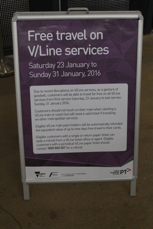 V/Line notice informing passengers of free travel from January 23 to 31