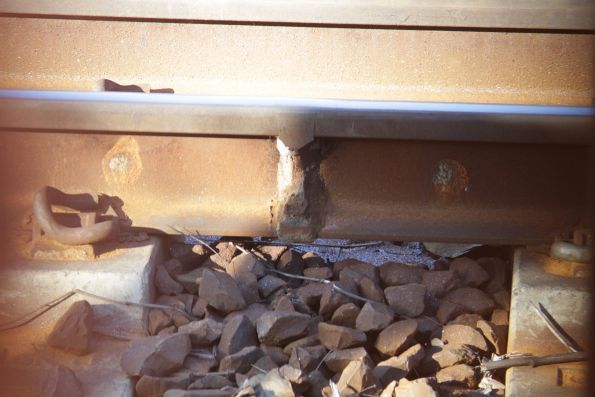 Fine metal shavings cover the ballast on the North Melbourne flyover