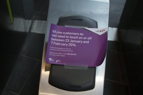 Free travel for V/Line passengers notice on the myki readers at Southern Cross