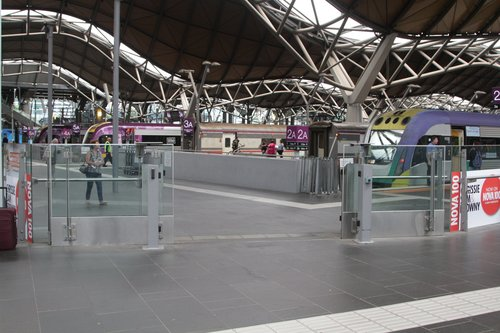 Free travel for V/Line passengers so the emergency entrances at Southern Cross have been thrown open