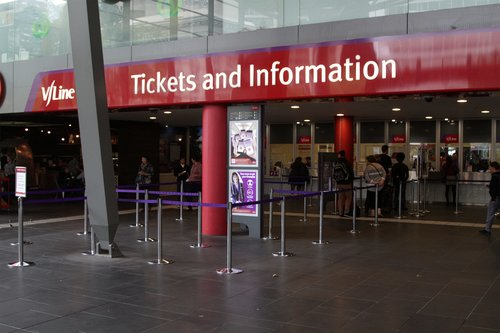 Free travel for V/Line passengers, yet there is still a line at the Southern Cross ticket office