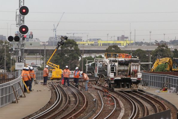 Work to replace the 'outside' broad gauge rail on the North Melbourne flyover curves