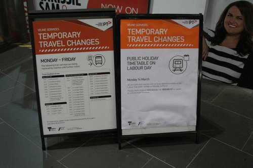 Sign at Southern Cross Station listing V/Line bus replacements for Monday-Friday