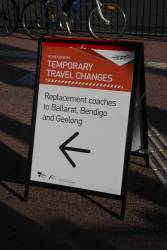 'Temporary travel changes' notice at Footscray station directing passengers to replacement coaches