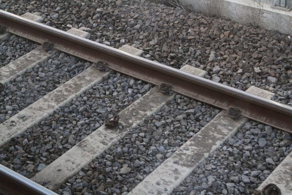 Loose pandrol clips following rail replacement works at Spion Kop
