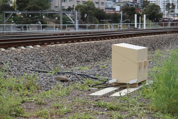Automatic rail greaser for up broad gauge trains approaching the North Melbourne flyover
