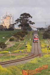 N451 leads the up Warrnambool past the cement works at Waurn Ponds