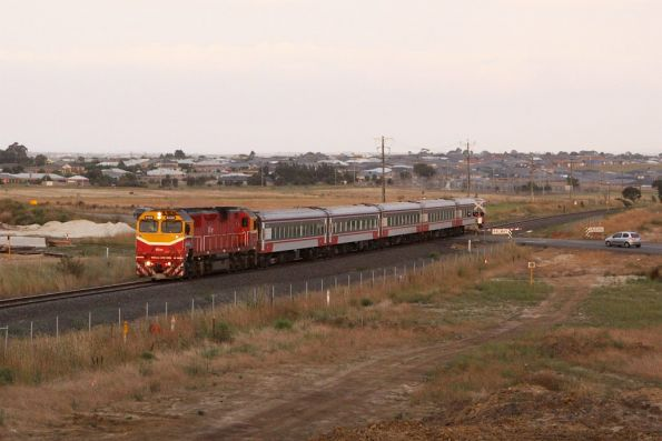 The weather is hardly better today, N468 leads the down Warrnambool at Anglesea Road, Waurn Ponds
