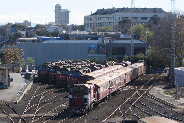 A good chunk of the V/Line locomotive fleet stabled at Dudley Street