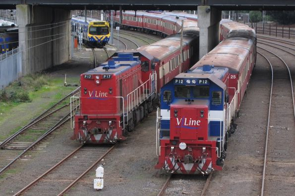 P17 and P12 stabled on push-pull trains at Melbourne Yard