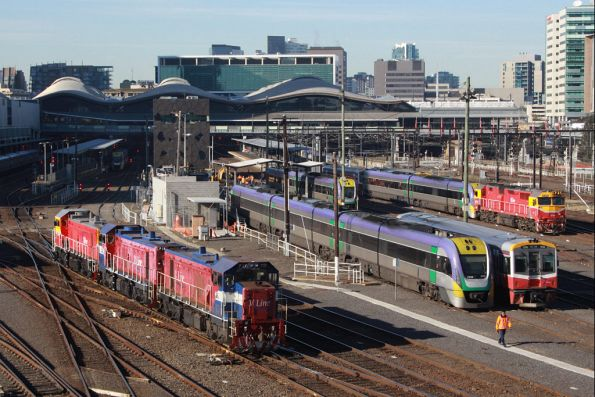 P11, P16 and P17 arrive into Southern Cross, stabled railcars in the yard