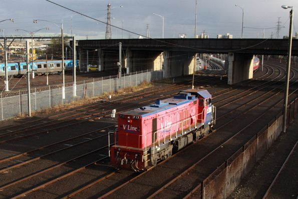 P13 leaves a stabled push-pull set behind at Melbourne Yard