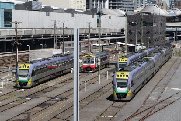 Collection of VLocity and Sprinter DMUs in the Railcar Depot at Southern Cross