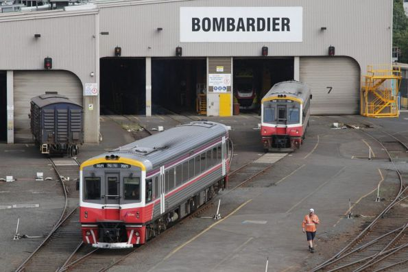 Sprinters 7021 and 7010 outside the Bombardier shed at West Melbourne
