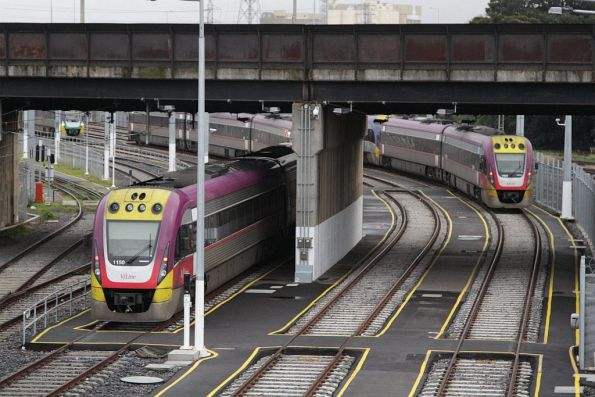 VLocity 3VL50 and classmate stabled in the V/Line arrivals yard sidings at North Melbourne