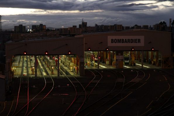 Night falls on the Bombardier maintenance sheds at West Melbourne