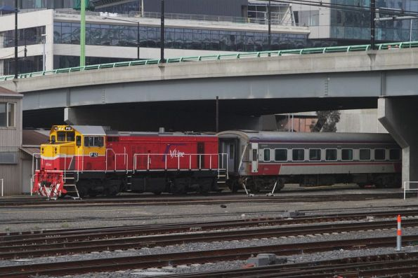 P12 stabled with a carriage in the Bank Sidings at Southern Cross