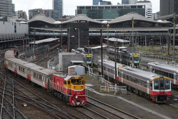 P12 leads an empty push-pull set out of Southern Cross