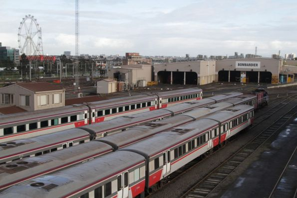 Stabled carriage sets in the sidings at Southern Cross