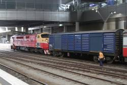 Shunters prepare a down Bacchus Marsh service at Southern Cross after A66 was coupled on