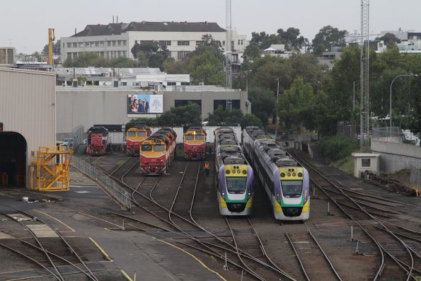 VLocity railcars stabled beside spare locomotives at Dudley Street